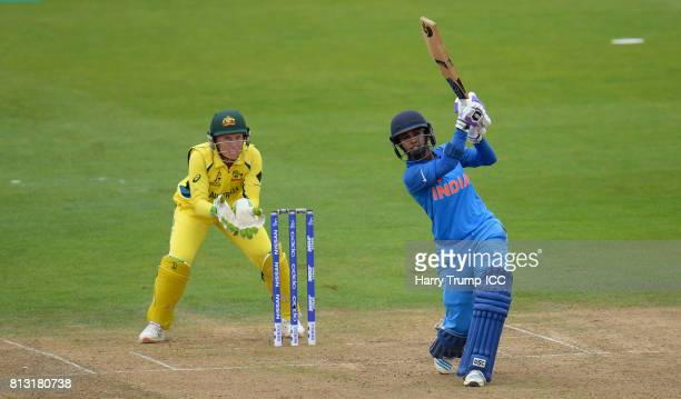 Mithali Raj Captain of India bats during the ICC Women's World Cup 2017 match between Australia and India at The County Ground on July 12 2017 in...