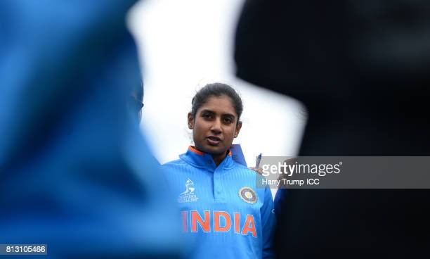 Mithali Raj Captain of India gives a pre warm up talk during the ICC Women's World Cup 2017 match between Australia and India at The County Ground on...