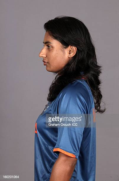 Mithali Raj captain of India poses at a portrait session ahead of the ICC Womens World Cup 2013 at the Taj Mahal Palace Hotel on January 27 2013 in...