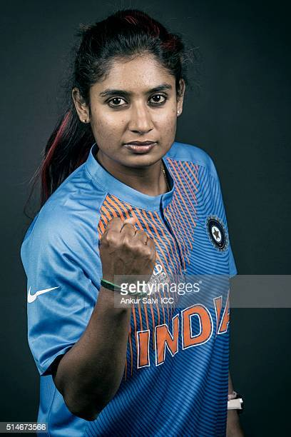 Mithali Raj during the photocall of the India team ahead of the Women's ICC World Twenty20 India 2016 on March 9 2016 in Bangalore India