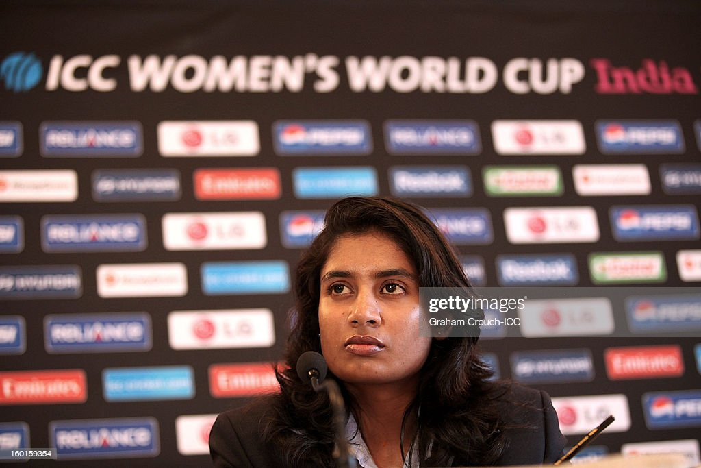 Mithali Raj of India at the ICC Womens World Cup trophy attends the Captains Group A Press Conference at the Taj Mahal Palace Hotel on January 27, 2013 in Mumbai, India.