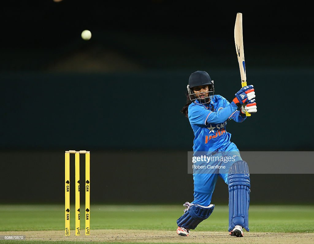 <a gi-track='captionPersonalityLinkClicked' href=/galleries/search?phrase=Mithali+Raj&family=editorial&specificpeople=868753 ng-click='$event.stopPropagation()'>Mithali Raj</a> of India bats during game three of the one day international series between Australia and India at Blundstone Arena on February 7, 2016 in Hobart, Australia.