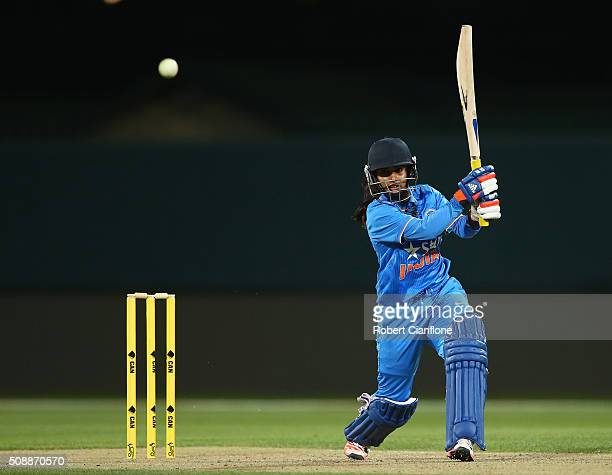 Mithali Raj of India bats during game three of the one day international series between Australia and India at Blundstone Arena on February 7 2016 in...