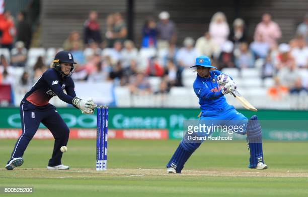 Mithali Raj of India bats during the England v India group stage match at the ICC Women's World Cup 2017 at The 3aaa County Ground on June 24 2017 in...