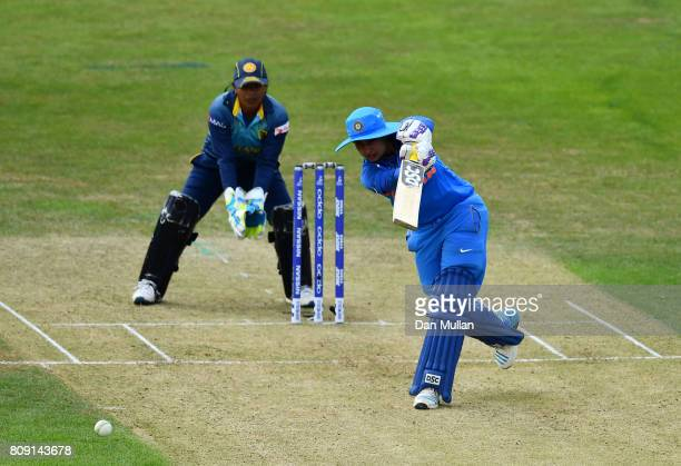 Mithali Raj of India bats during the ICC Women's World Cup 2017 match between Sri Lanka and India at The 3aaa County Ground on July 5 2017 in Derby...