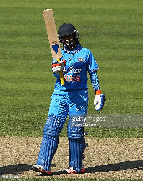 Mithali Raj of India celebrates after reaching her half century during game two of the women's one day international series between Australia and...