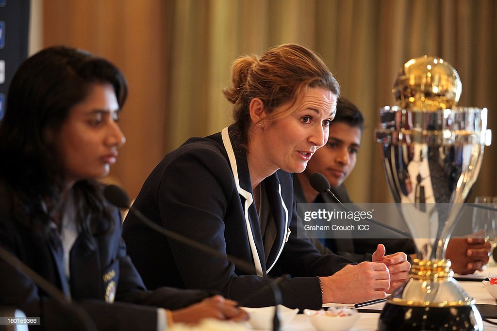 Mithali Raj of India, <a gi-track='captionPersonalityLinkClicked' href=/galleries/search?phrase=Charlotte+Edwards&family=editorial&specificpeople=618915 ng-click='$event.stopPropagation()'>Charlotte Edwards</a> of England and Shashikala Siriwardena of Sri Lanka with the ICC Womens World Cup trophy attend the Captains Group A Press Conference at the Taj Mahal Palace Hotel on January 27, 2013 in Mumbai, India.