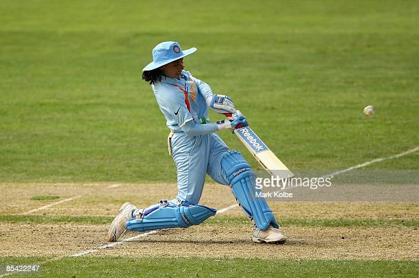 Mithali Raj of India drives a ball over the field during the ICC Women's World Cup 2009 Super Six match between Australia and India at North Sydney...