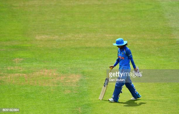 Mithali Raj of India leaves the field dejected after being dismissed during the ICC Women's World Cup 2017 match between Sri Lanka and India at The...