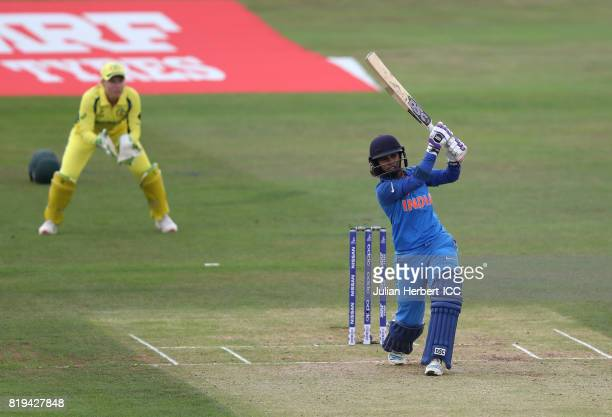 Mithali Raj of India scores runs during The Womens World Cup 2017 SemiFinal between Australia and India at The County Ground on July 20 2017 in Derby...