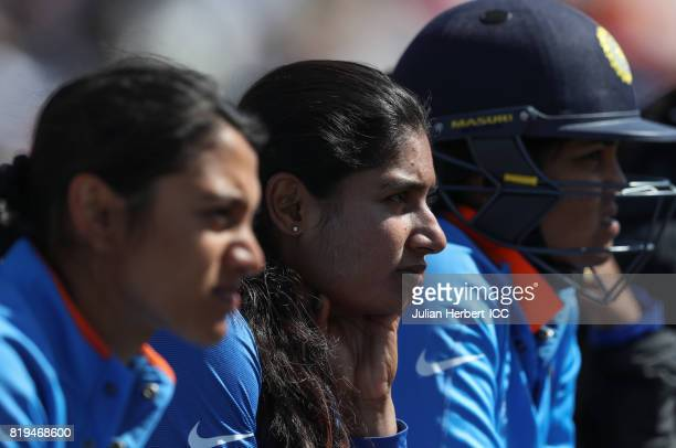 Mithali Raj of India watches her team batting during The Womens World Cup 2017 SemiFinal between Australia and India at The County Ground on July 20...