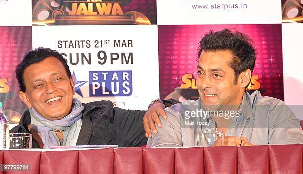 Mithun Chakraborty and Salman Khan at a press conference for the show Superstars Ka Jalwa in Mumbai on Tuesday March 15 2010