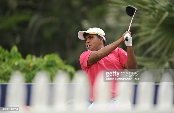 Mithun Perera of Sri Lanka plays a shot during the ProAm ahead of the Indonesia Open at Damai Indah Golf Pantai Indah Kapuk Course on December 3 2014...