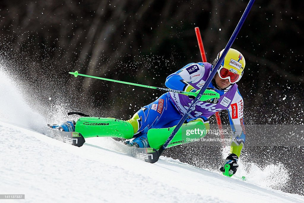 <a gi-track='captionPersonalityLinkClicked' href=/galleries/search?phrase=Mitja+Valencic&family=editorial&specificpeople=887939 ng-click='$event.stopPropagation()'>Mitja Valencic</a> of Slovenia competes during the Audi FIS Alpine Ski World Cup Men's Slalom on March 11, 2012 in Kranjska Gora, Slovenia.