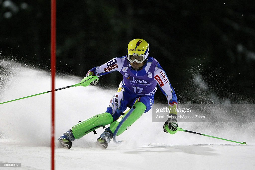 <a gi-track='captionPersonalityLinkClicked' href=/galleries/search?phrase=Mitja+Valencic&family=editorial&specificpeople=887939 ng-click='$event.stopPropagation()'>Mitja Valencic</a> of Slovenia competes during the Audi FIS Alpine Ski World Cup Men's Slalom on December 18, 2012 in Madonna di Campiglio, Italy.