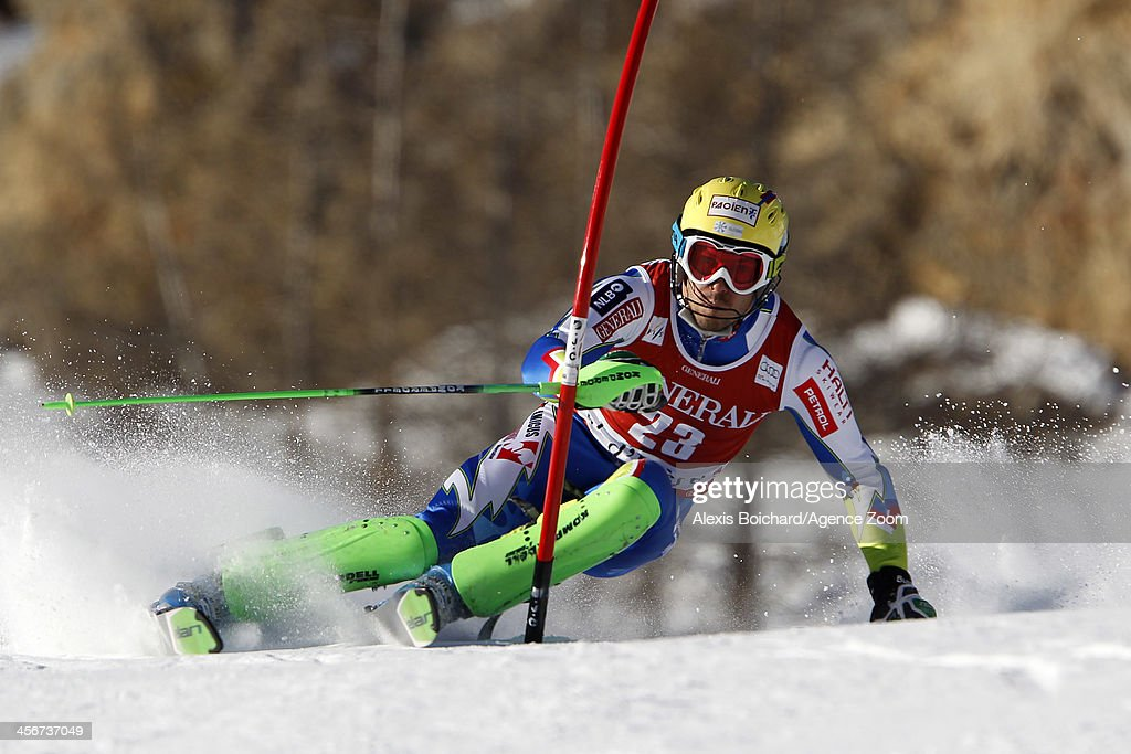 <a gi-track='captionPersonalityLinkClicked' href=/galleries/search?phrase=Mitja+Valencic&family=editorial&specificpeople=887939 ng-click='$event.stopPropagation()'>Mitja Valencic</a> of Slovenia competes during the Audi FIS Alpine Ski World Cup Men's Slalom on December 15, 2013 in Val d'Isere, France.
