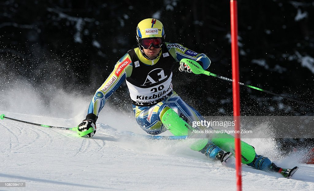 <a gi-track='captionPersonalityLinkClicked' href=/galleries/search?phrase=Mitja+Valencic&family=editorial&specificpeople=887939 ng-click='$event.stopPropagation()'>Mitja Valencic</a> of Slovenia during the first run of the Audi FIS Alpine Ski World Cup Men's Slalom on January 23, 2011 in Kitzbuehel, Austria.