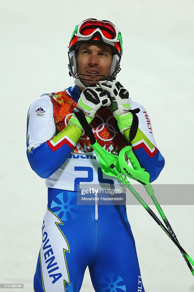 <a gi-track='captionPersonalityLinkClicked' href=/galleries/search?phrase=Mitja+Valencic&family=editorial&specificpeople=887939 ng-click='$event.stopPropagation()'>Mitja Valencic</a> of Slovenia reacts after finishing the second run during the Men's Slalom during day 15 of the Sochi 2014 Winter Olympics at Rosa Khutor Alpine Center on February 22, 2014 in Sochi, Russia.