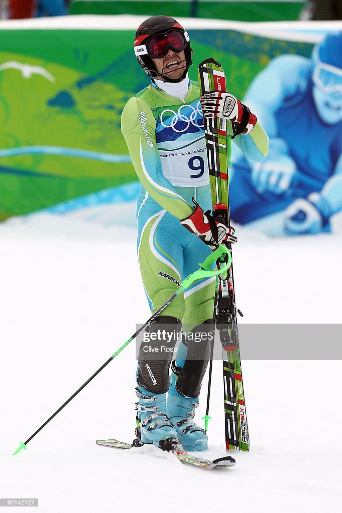 <a gi-track='captionPersonalityLinkClicked' href=/galleries/search?phrase=Mitja+Valencic&family=editorial&specificpeople=887939 ng-click='$event.stopPropagation()'>Mitja Valencic</a> of Slovenia reacts after the Men's Slalom second run on day 16 of the Vancouver 2010 Winter Olympics at Whistler Creekside on February 27, 2010 in Whistler, Canada