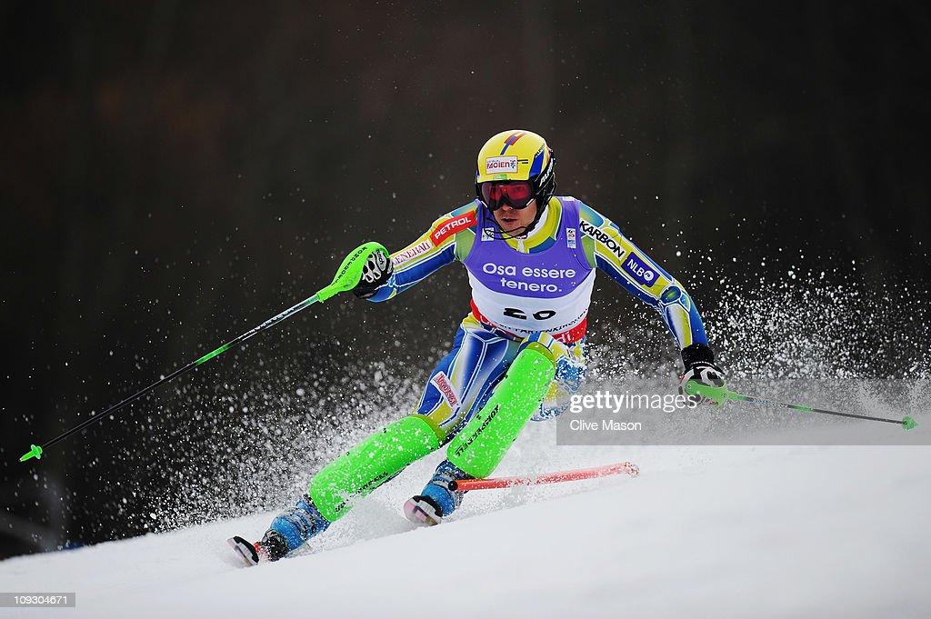 <a gi-track='captionPersonalityLinkClicked' href=/galleries/search?phrase=Mitja+Valencic&family=editorial&specificpeople=887939 ng-click='$event.stopPropagation()'>Mitja Valencic</a> of Slovenia skis in the Men's Slalom during the Alpine FIS Ski World Championships on the Gudiberg course on February 20, 2011 in Garmisch-Partenkirchen, Germany.