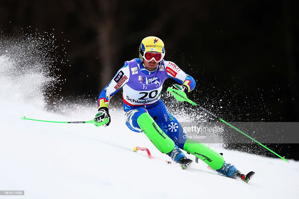 <a gi-track='captionPersonalityLinkClicked' href=/galleries/search?phrase=Mitja+Valencic&family=editorial&specificpeople=887939 ng-click='$event.stopPropagation()'>Mitja Valencic</a> of Slovenia skis in the Men's Slalom during the Alpine FIS Ski World Championships on February 17, 2013 in Schladming, Austria.