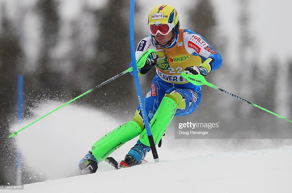 <a gi-track='captionPersonalityLinkClicked' href=/galleries/search?phrase=Mitja+Valencic&family=editorial&specificpeople=887939 ng-click='$event.stopPropagation()'>Mitja Valencic</a> of Slovenia skis the first run of the men's slalom on the Birds of Prey at the Audi FIS World Cup on December 8, 2011 in Beaver Creek, Colorado.
