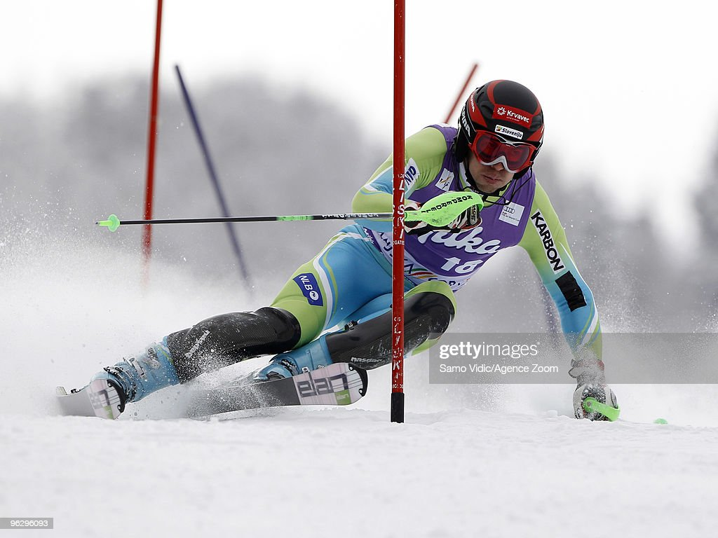 <a gi-track='captionPersonalityLinkClicked' href=/galleries/search?phrase=Mitja+Valencic&family=editorial&specificpeople=887939 ng-click='$event.stopPropagation()'>Mitja Valencic</a> of Slovenia takes 13th place during the Audi FIS Alpine Ski World Cup Men's Slalom on January 31, 2010 in Kranjska Gora, Slovenia.