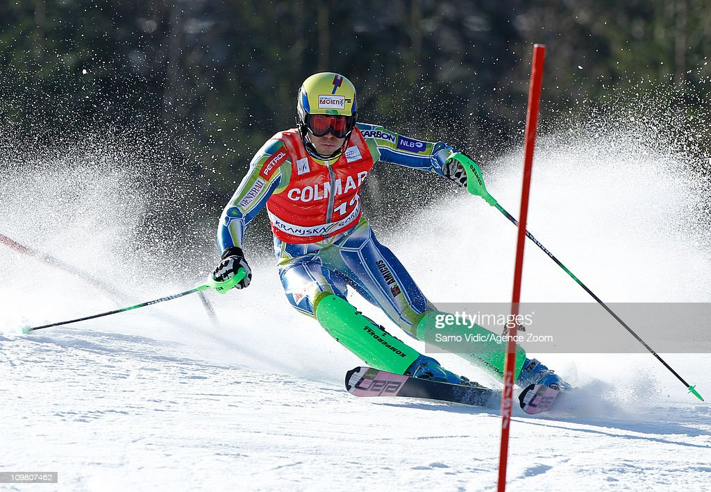 <a gi-track='captionPersonalityLinkClicked' href=/galleries/search?phrase=Mitja+Valencic&family=editorial&specificpeople=887939 ng-click='$event.stopPropagation()'>Mitja Valencic</a> of Slovenia takes 6th place during the Audi FIS Alpine Ski World Cup Men's Slalom on March 6, 2011 in Kranjska Gora, Slovenia.