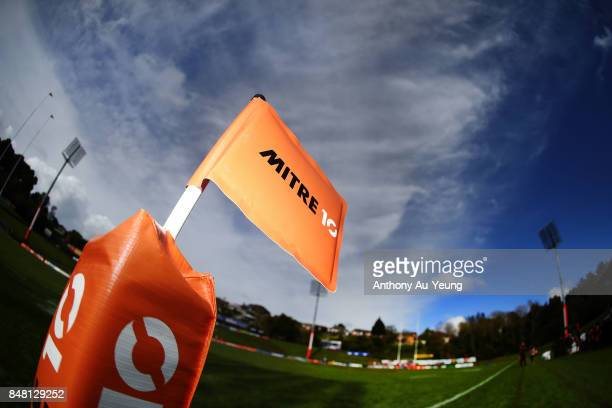 Mitre 10 Cup corner flag is seen during the round five Mitre 10 Cup match between Counties Manukau and Hawke's Bay at ECOLight Stadium on September...