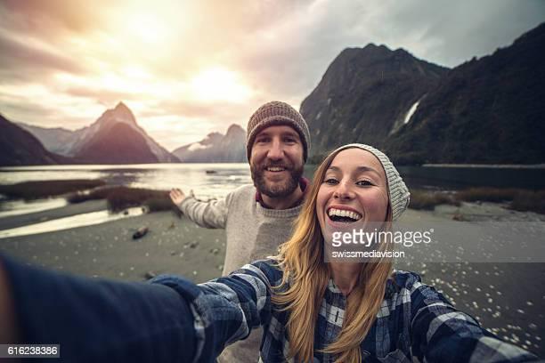 Mitre peak selfie at Milford sound, New Zealand
