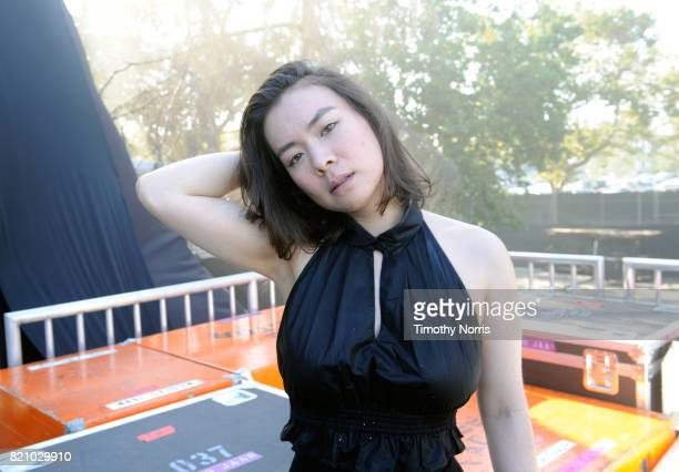 Mitski poses backstage during day 2 of FYF Fest 2017 at Exposition Park on July 22 2017 in Los Angeles California
