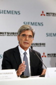 Mitsubishi Heavy Industries CEO Shunichi Miyanaga delivers a speech during a press conference about SiemensMHI proposals for Alstom on June 17 in...