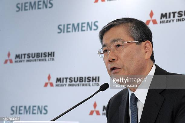 Mitsubishi Heavy Industries CEO Shunichi Miyanaga talks during a press conference in Paris on June 17 2014 about the SiemensMHI proposal for Alstom...