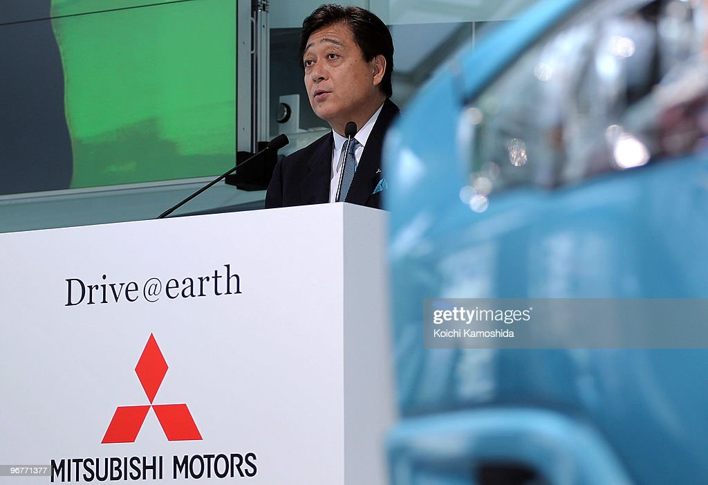 Mitsubishi Motors Corporation President Osamu Masuko introduces their new compact SUV 'RVR' at their headquarters on February 17 2010 in Tokyo Japan...