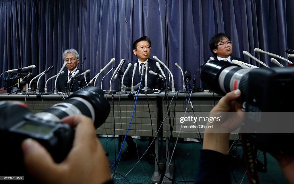 Mitsubishi Motors President Tetsuro Aikawa center speaks during a press conference on April 20 2016 in Tokyo Japan Mitsubishi Motors share plunged...