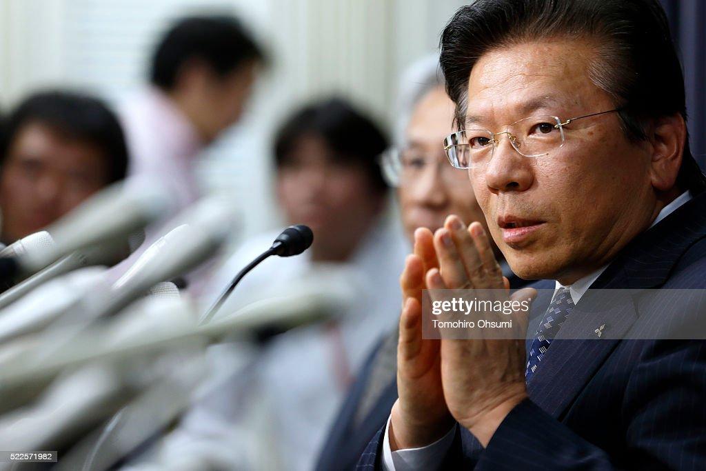 Mitsubishi Motors President Tetsuro Aikawa gestures as he speaks during a press conference on April 20 2016 in Tokyo Japan Mitsubishi Motors share...