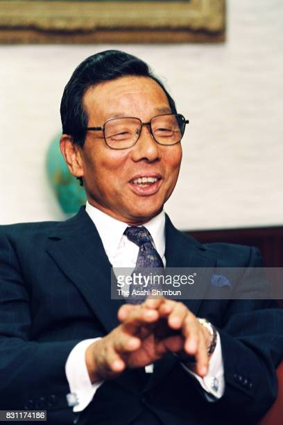 Mitsubishi Rayon President Eiichi Taguchi speaks during the Asahi Shimbun interview at the company headquarters on August 4 1993 in Tokyo Japan