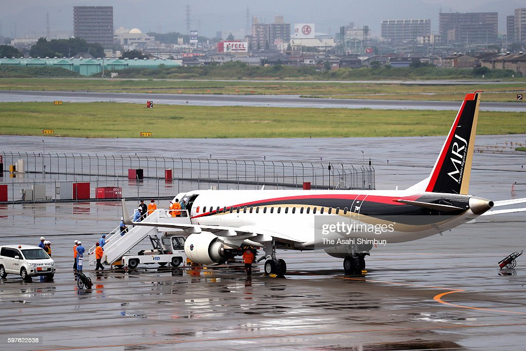 A Mitsubishi Regional Jet returns to Nagoya Airport on August 28 2016 in Toyoyama Aichi Japan Japan's first domestically made passenger jet was...
