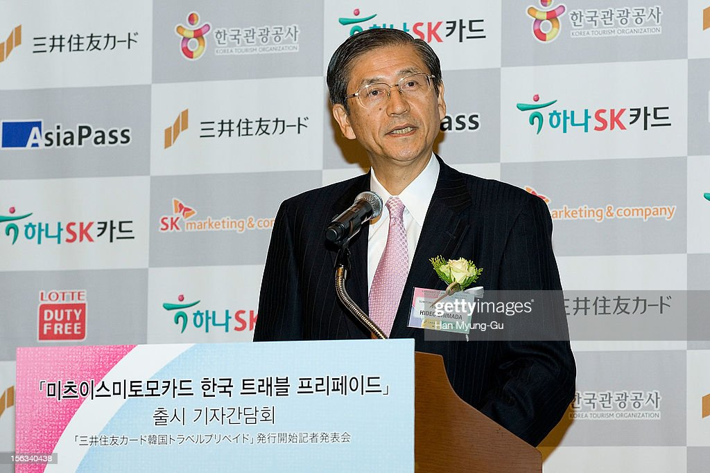 Mitsui Sumitomo Card Company, Ltd President Hideo Shimada speaks during the promotional event of 'Mitsui Sumitomo Card' Korea Travel Prepaid at Lotte Hotel on November 13, 2012 in Seoul, South Korea.