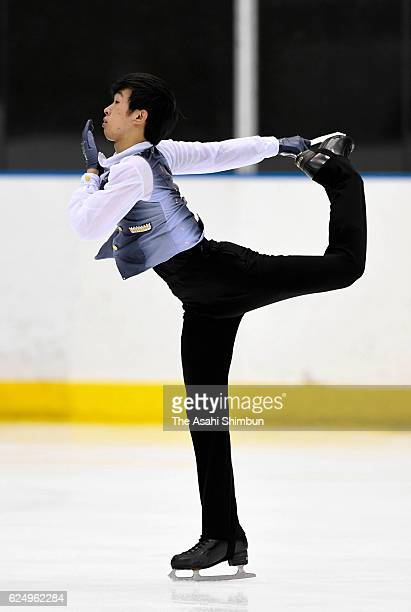 Mitsuki Sumoto competes in the Men's Singles Short Program during day two of the 85th All Japan Figure Skating Junior Championships at Sapporo...