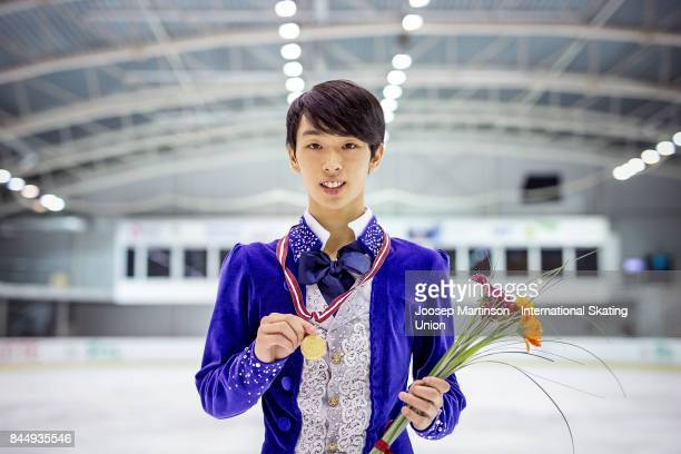 Mitsuki Sumoto of Japan poses in the Junior Men medal ceremony during day 3 of the Riga Cup ISU Junior Grand Prix of Figure Skating at Volvo Sports...
