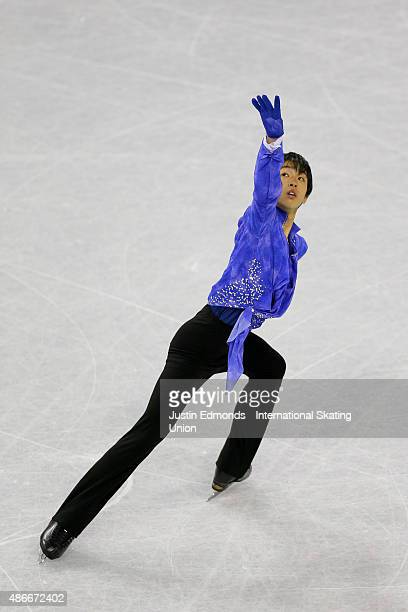 Mitsuki Sumoto of Japan skates during the junior mens free skate at World Arena on September 4 2015 in Colorado Springs Colorado