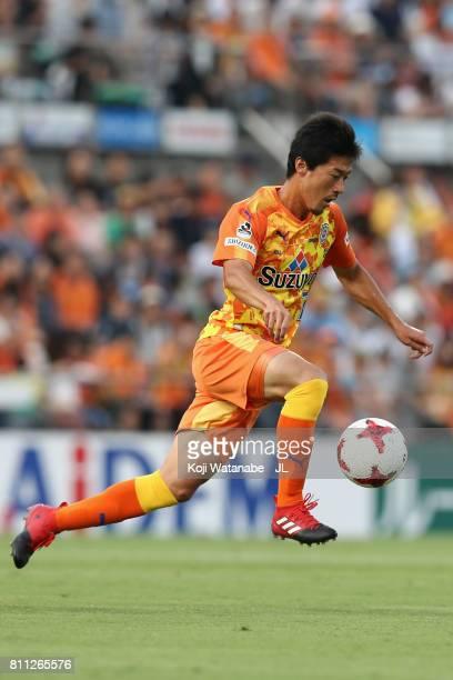 Mitsunari Musaka of Shimizu SPulse in action during the JLeague J1 match between Shimizu SPulse and Gamba Osaka at IAI Stadium Nihondaira on July 8...