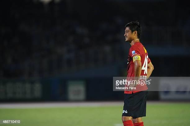 Mitsuo Ogasawara of Kashima Antlers looks on during the JLeague match between Kawasaki Frontale and Kashima Antlers at Todoroki Stadium on August 29...