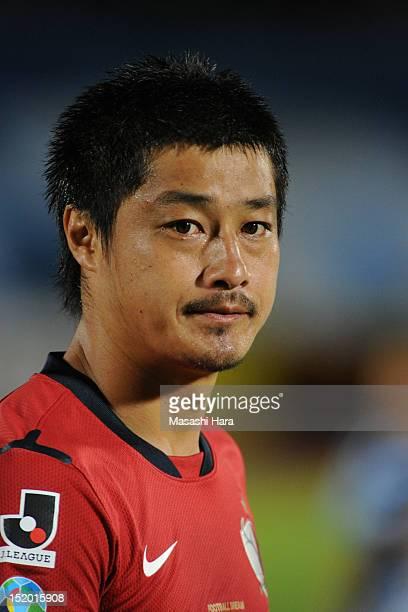Mitsuo Ogasawara of Kashima Antlers looks on prior to the JLeague match between Kawasaki Frontale and Kashima Antlaers at Todoroki Stadium on...