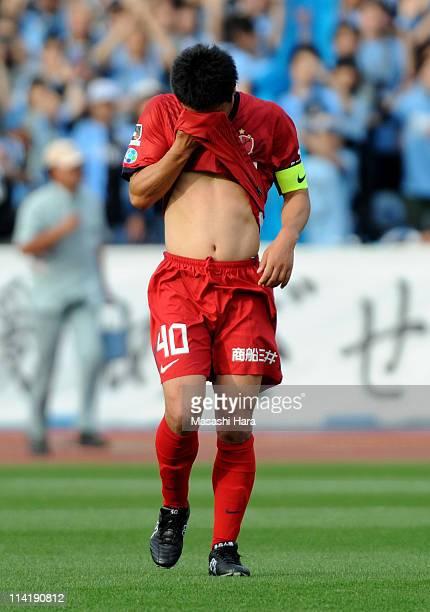 Mitsuo Ogasawara of Kashima Antlers reacts on during JLeague match between Kawasaki Frontale and Kashima Antlers at Todoroki Stadium on May 15 2011...