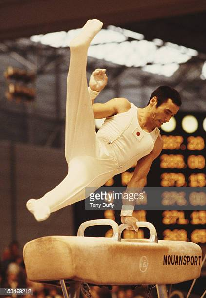 Mitsuo Tsukahara of Japan performs during the Men's Pommel horse event on 28th October 1978 during the World Artistic Gymnastics Championships in...