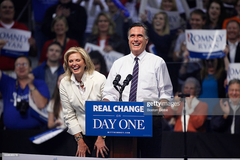 Mitt and Ann Romney wave to the crowd after making their entrance. GOP presidential candidate Mitt Romney holds a final victory rally at the Verizon Wireless Arena in Manchester, N.H. on Tuesday, Nov. 6, 2012. Musician Kid Rock performed for the rally.