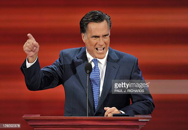 Mitt Romney former Republican presidential candidate and governor of Massachussetts speaks at the Republican National Convention 2008 at the Xcel...