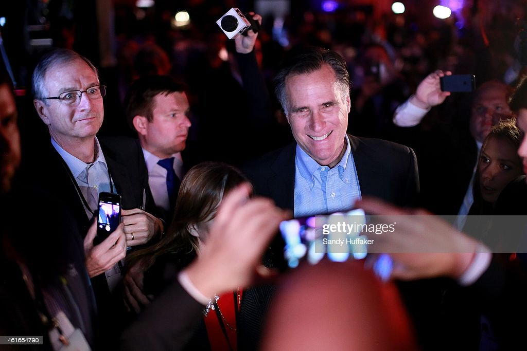 <a gi-track='captionPersonalityLinkClicked' href=/galleries/search?phrase=Mitt+Romney&family=editorial&specificpeople=207106 ng-click='$event.stopPropagation()'>Mitt Romney</a> is greeted by fellow Republicans at a dinner during the Republican National Committee's Annual Winter Meeting aboard the USS Midway on January 16, 2015 in San Diego, California. Romney is contemplating a possible 2016 presidential run.